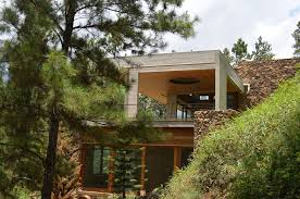 3 y home on steep slope with grass roofed garage