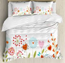 flower duvet cover set queen size romantic hearts design with 2 pillow shams