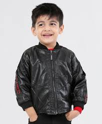 kookie kids solid full sleeves faux leather jacket black