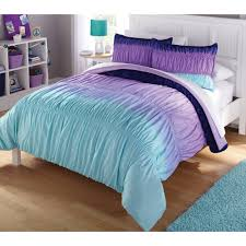 purple and blue bedding sets latitude ombre ruched reversible complete set
