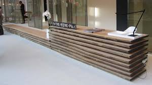 creative wood reception desk design for hotel or exhibition
