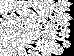 Douchebag Swear Word Coloring Page Adult Coloring Page