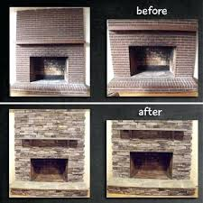 refacing a brick fireplace with stone veneer fireplace remodel stone veneer over brick i like the refacing a brick fireplace