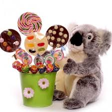 koala gift with a bouquet of lollies