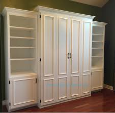 queen size murphy beds. Brilliant Size White Painted MDF Queen Size Murphy Bed Flat Panel Surface Trimmed Doors  Two Bookcases To Queen Size Beds