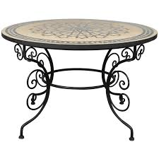 furniture moroccan outdoor round mosaic tile dining table on iron base in surprising diy side
