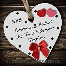 personalised our 1st first valentines together plaque available in many colours present wooden heart hanging ornament