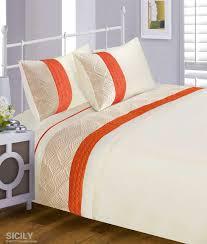 orange cream modern stylish quilted pattern duvet quilt cover set