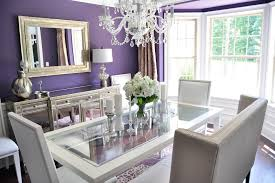 white dining room buffet. Dining Room Buffet Decor For Small Spaces With White Crystal Chandelier And Purple Wall Paint Colors Schemes Using Square Mirror A