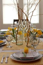 Great Picture Of Dining Room Ornament And Decoration Using Round Glass  Bottle Flower Vase Including Twig