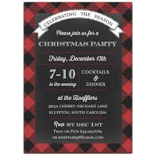 Christmas Holiday Invitations Red Buffalo Plaid Christmas Invitations
