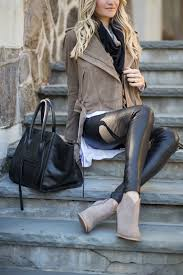 leather pants moto jacket with scarf