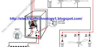 automatic ups system wiring circuit diagram for home or office inverter connection to switchboard at House Wiring Diagram With Inverter