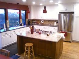 amazing two tone grey kitchen cabinets white design with black and idea red pendant light wall