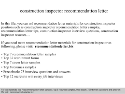 construction inspector resumes construction inspector recommendation letter