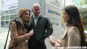 Amateur Czech couples exchange partners in public for cash.