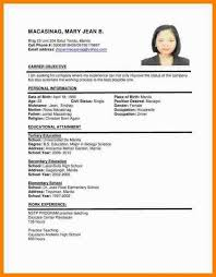 Resume Example Filipino Pilipino Sample Template Simple Portrayal