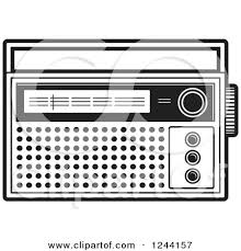 radio clipart black and white. clipart of a black and white pocket radio - royalty free vector illustration by lal perera d