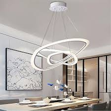 led chandelier dimmable 2 rings 3 rings contemporary ceiling light acrylic adjule pendant light for living room bedroom dining room entrance balcony
