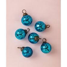 6 pack 1 5 turquoise ava mini mercury handcrafted glass ornament tree decoration