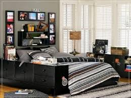 boy bedroom furniture. teens room black white bed cover pillow carpet fur rug cabinet shelves frame picture transparent curtain desk lamp boys bedroom ideas mattress teen boy furniture t