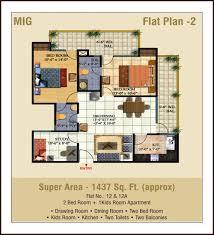 2 bedroom flats plans. 2 bedroom + 1kids room apartments drawing dining kitchen toilets balconies super area - 1437 sq. ft. flats plans i