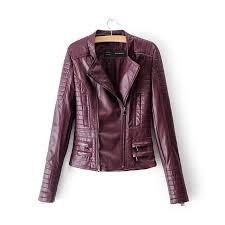 motorcycle jacket personalized pu jacket mandarin collar women coat autumn slim lady tops long sleeve outwear