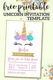 Free Printable Unicorn Invitations Template Birthday