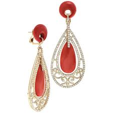 red and gold chandelier earrings c and pave diamond yellow gold chandelier earrings for red
