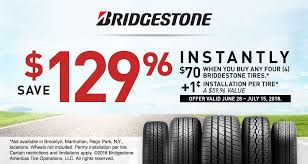 70 off any set of 4 bridgestone tires 1 installation per tire valid