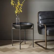Gallery Wesley Black Metal Tray Table with Gold Edge | 24 Home Furniture :  Find a collection that suits you.