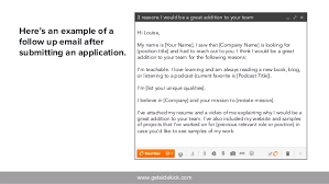 Gallery Of Here S An Example Of Follow Up Application Email Sample