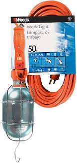 Woods 0682 18 3 Gauge Sjtw Trouble Light With Metal Guard Outlet Orange 75 Watt 50 Foot
