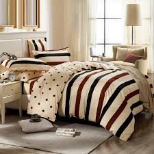 affordable coffee brown black and beige rugby stripe and polka dot print teen girls boys twin full queen size cotton bedding sets
