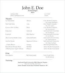 Theatre Resume Inspiration Theatrical Resume Template Word Acting Resume Beginner Actors Resume