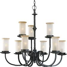 progress lighting santiago collection 9 light forged black chandelier with jasmine mist glass