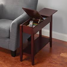 f rectangle mahogany wood nightstand in cherry finished with lift top cover storage beside gray canvas couch as well as narrow side table with drawers and captivating side table