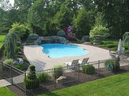 Swimming Pool Landscaping Designs Traditional Swimming Pool With Fence Exterior Brick Floors Home