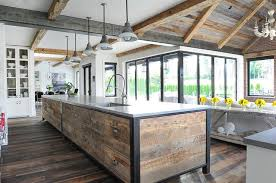 reclaimed wood planks on kitchen island