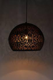 Filigrain Hanglamp Mat Zwartgoud Xl