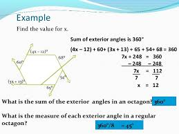 find the size of each exterior angle of a regular hexagon. polygon exterior angles theorem; 14. find the size of each angle a regular hexagon