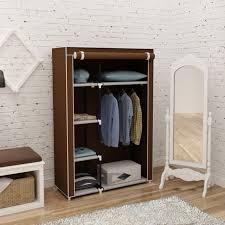 portable closet storage organizer clothes wardrobe shoe rack with shelves brown