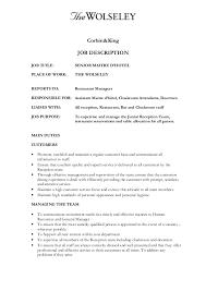 Bar Staff Job Description Senior Maitre Dhotel