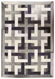 eternity black white grey modern leather rug jpg