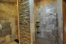 awesome natural stone bathroom design with travertine wall