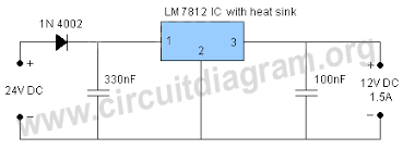 v to v converter circuit diagram 24v to 12v converter circuit using lm7812
