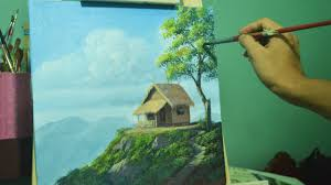 acrylic landscape painting lesson house on top of hill by jmlisondra