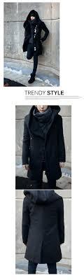 punkool fashion hooded wool trench coat men jackets korea wool cashmere pea coat long winter men