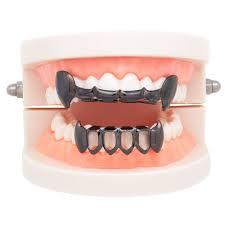 4 Colors Halloween Vampire Canine Denture Kit Hollow Metal Geometric Denture Grillz Teeth Jewelry Set
