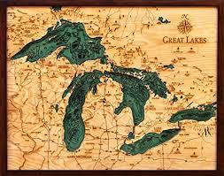 Woodchart Great Lakes Wooden Nautical Chart Map 16 X 20